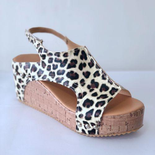 Summer Printed Peep Toe Women Wedges Sandals