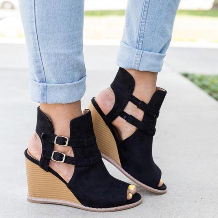Peep-Toe Wedges Faux Suede Wedge Heel Adjustable Buckle Sandals