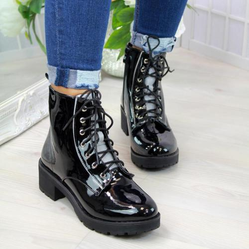 Ladies Fashion Black Cross Strap Martin Boots