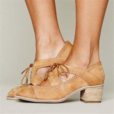 Lace-Up Everyday Medium Heel Artificial Suede Block Heel Shoes