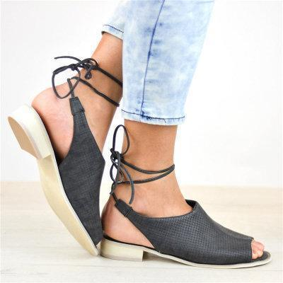 Lace-Up Ankle Peep Toe Low Heels Solid Sandals