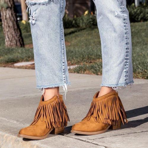 Women Vintage Fringe Chunky Heel Booties