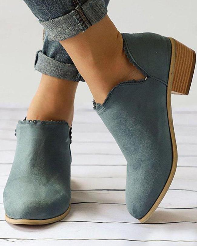 Solid Block Heel Ankle Bootie