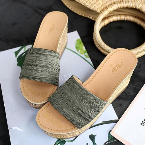 Women Summer Wedge Platform Slip-on Slippers