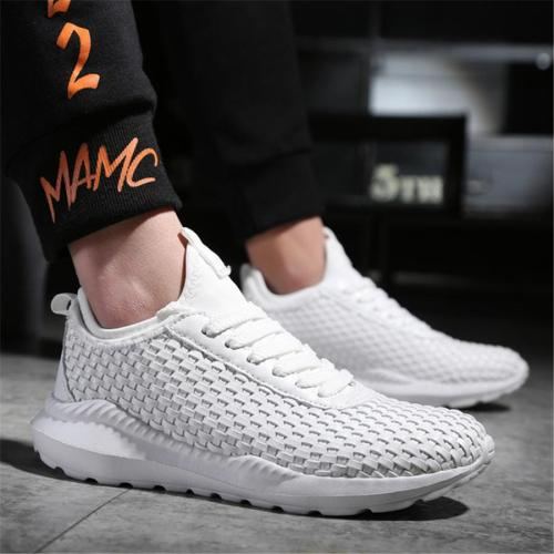 Men's casual platform woven non-slip sneakers