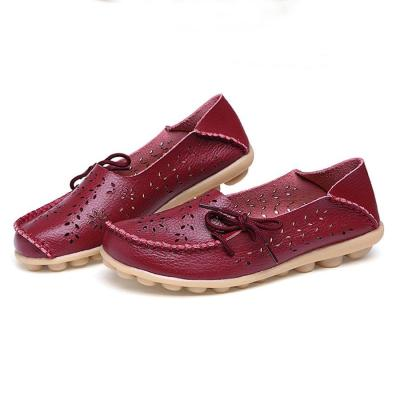 Solid Bowknot Hollow Out Soft Sole Loafers