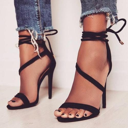 Solid color suede straps sexy high heel sandals
