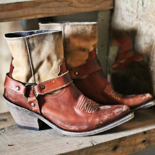 Retro Western Cowboy Boots Block Heel Brown Ankle Boots