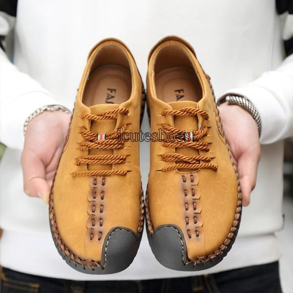 Summer Casual Leather Shoes Men New Leather Lace Up Men's Breathable Cow Leather Large Shoes