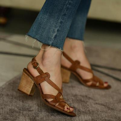 Women's PU Round Toe Adjustable Buckle Middle Chunky Heel Sandals