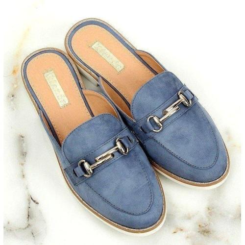 Blue Low Heel Metal Trim Slip-On Mule Sandals
