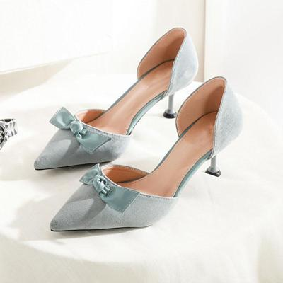 Sweet Pointed Toe Suede Bowknot Shoes
