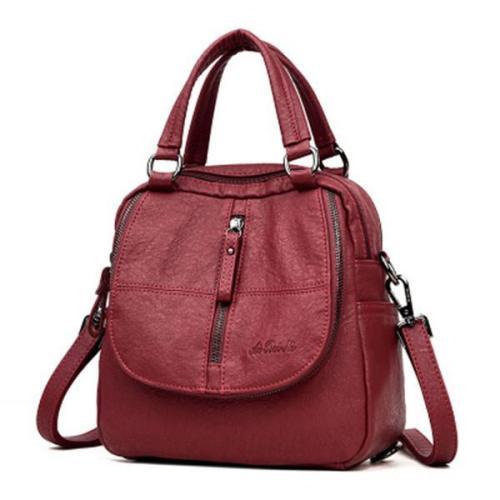 Double Layer Backpack PU Leather Handbag