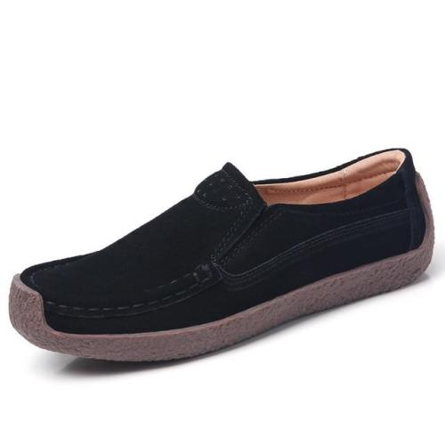 Flats Genuine leather Shoes Woman Lady Loafers Slip On Suede Shoes