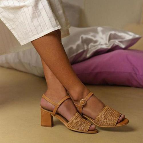 Chunky Heel Weaved Buckle Strap Peep Toe Sandals