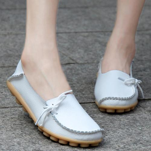 Women's White PU Flat Non-slip Bow-trim Flat Shoes