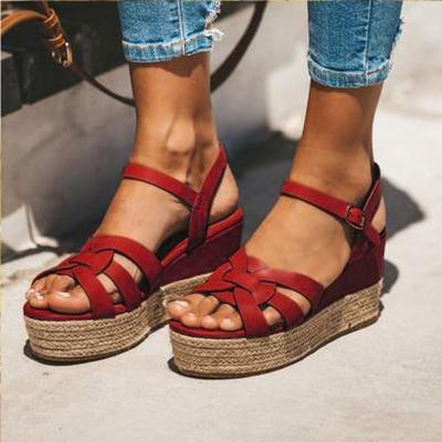 Summer PU Wedge Heel Platform Sandals