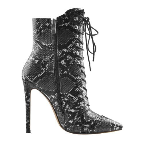 Snake Lace-up Pointy Toe Stiletto High Heel Ankle Boots