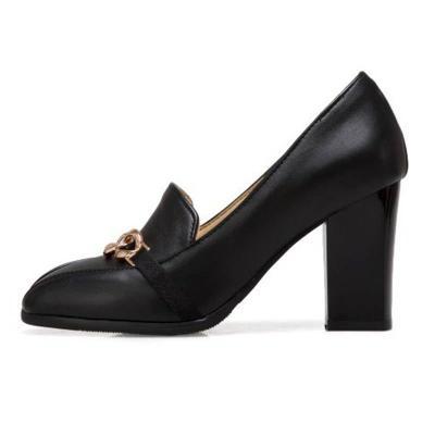 Chain Chunky Heel Square Toe Heels