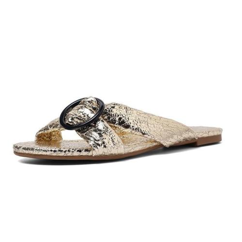 Shiny Cross-Band Leisure Home Wear Low Heel Sandals