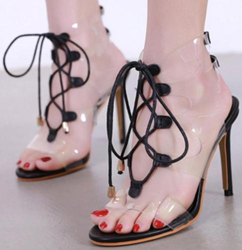 Thin High Heels Pumps Sexy Clear Lace Up Sandals Shoes