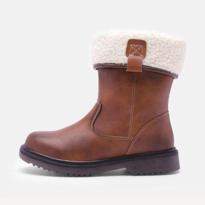 Women Brown Vintage Boot Winter Chunky Heel Shoes