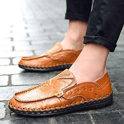 Mens Casual Slip-on Driving Shoes Genuine Leather Flats