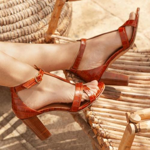 Cross-Band Ankle-Strap Buckle High Chunky Heels T-Bar Sandals