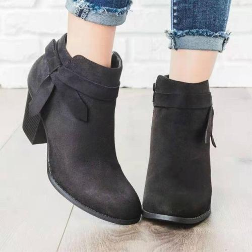 Boots Woman Pointed Toe Footwear Bownot Casual Chunky Heel Shoes