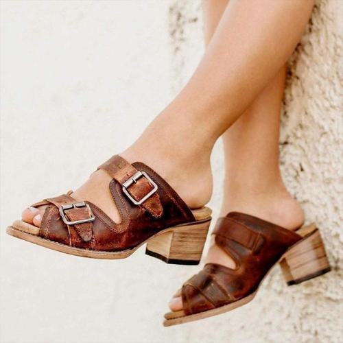 Vintage Summer Metal Buckle Chunky Heels Slippers