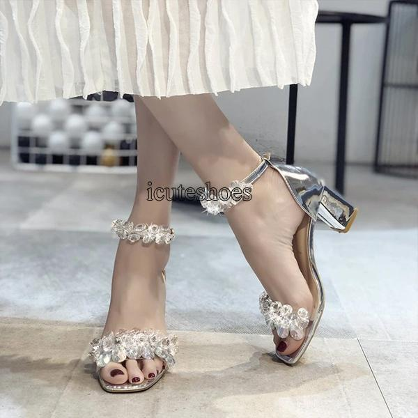 Summer New Comfortable Chunky Heel Women's Word Buckle High Heeled Fashion Sandals