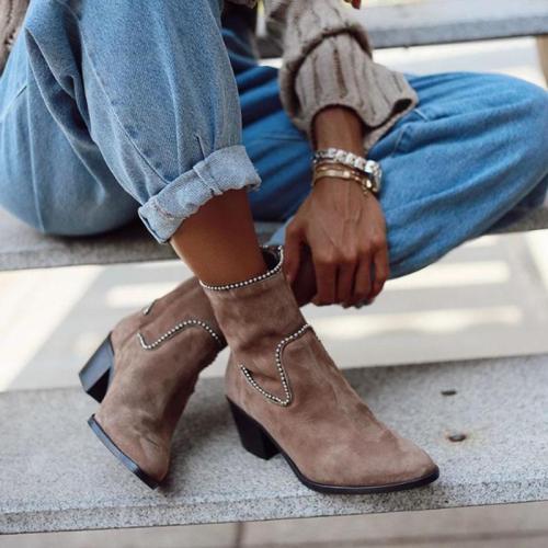 Fashion Women Rhinestone Rivet Mid Heel Chunky Boots