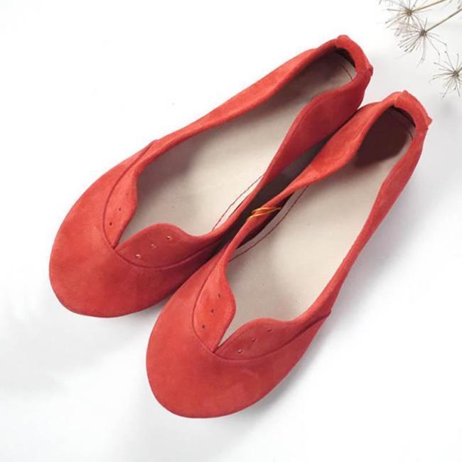 Women Nubuck Flats Casual Comfort Soft Shoes