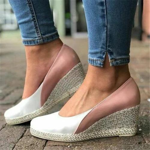 Casual Color Matching Sweet Wedge Shoes
