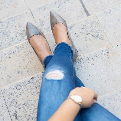 Distressed Black Almond Toe Flats