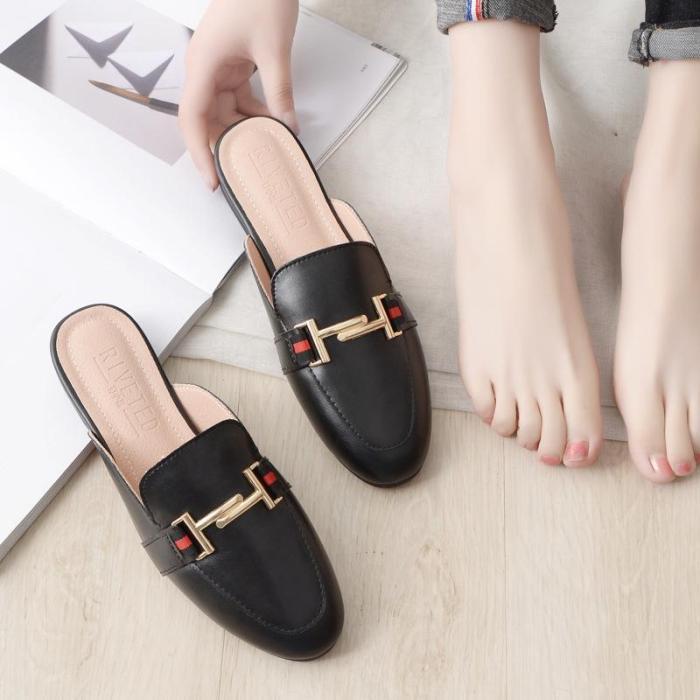 2020 New Round-head Slipper Women's Flat Muller Shoes