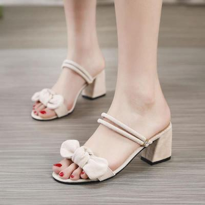 Sandals Women's Summer New One Word Buckle Students' Roman Shoes Open Toe Chunky Heels Women's Shoes