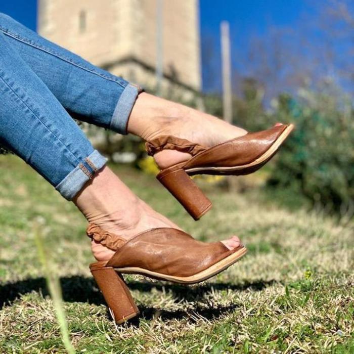 Peep Toe High Chunky Elastic Ankle Strap Sandals