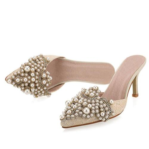 Daily Imitation Pearl Elegant Slippers