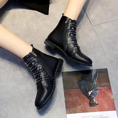 Leather Buckle Ladies Ankle Boots Flat Rivet Woman