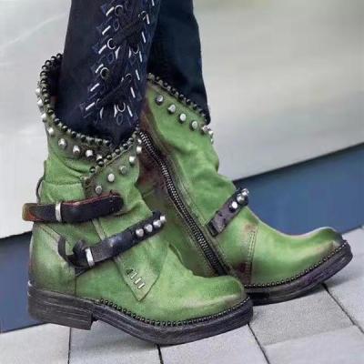 Vintage Rivet Buckle Strap Low Heel Mid-Calf Boots