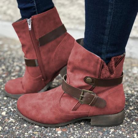 Pu Buckle Side-Zipper All Season Casual Boots