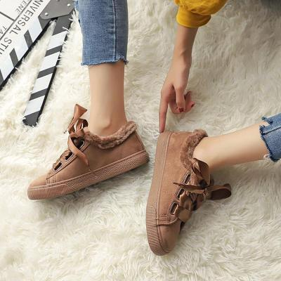 Womens Lace-Up Artificial Suede Flat Heel Warm Sneakers
