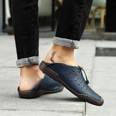 Mens Hollow-out Lace-up Breathable Driving Shoes Casual Flats