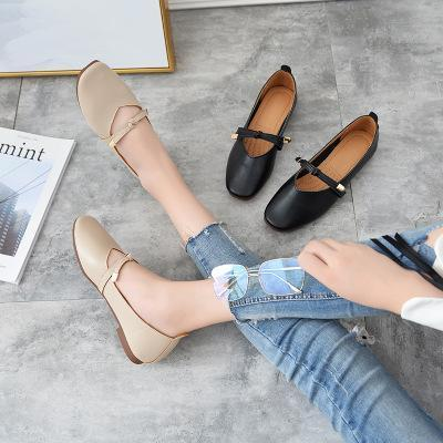 Women Bowknot PU Square Toe Suede Adjustable Buckle Spring Summer Autumn Flats