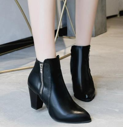 Retro Vintage Ankle Boots Side Zipper High Heels