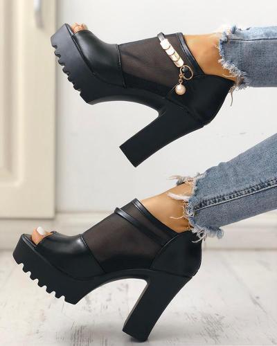 Peep Toe Mesh Insert Platform Chunky Heeled Sandals