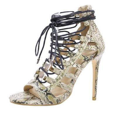 Women Stiletto Snake Sexy Fish Lips Cross Strap Non-slip High Heel Sandals
