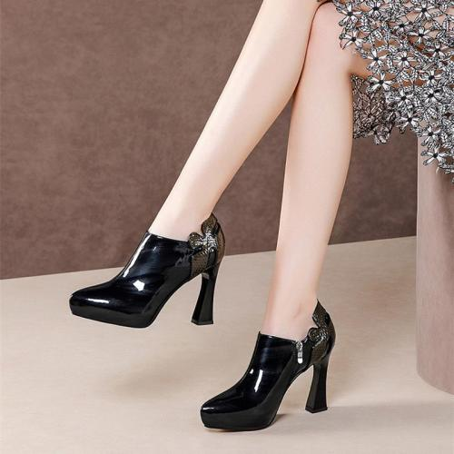 High Heels Women Pumps Leather High Heel Party Shoes