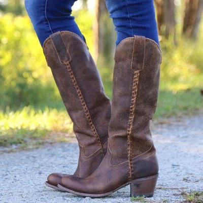Vintage Solid Cowgirl Slip on Boots